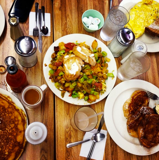 The half frittata, french toast, and chocolate chip banana pancakes from Mother's Cupboard.
