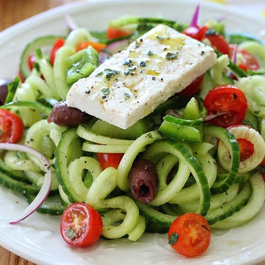 spiralized-Greek-cucumber-salad