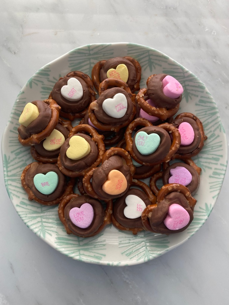 pretzels with chocolate and conversation hearts